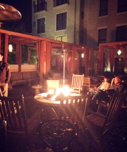 Fire pit on rooftop hotel
